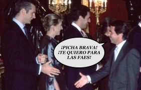 388267 04: Spanish President of Gobern Jose Maria Aznar, center, and wife Ana Botella, second right greet members of the Spanish Royal Family as they attend an annual reception after the Cervantes Award of Literature ceremony April 23, 2001 in Madrid, Spain. (Photo by Carlos Alvarez/Newsmakers)
